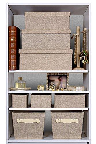 Creative Scents Storage Box Set, 3 Pcs (Sand Dunes) Decorative White  Stitching Fabric Lidded Shelf Storage Closet Organizer Box Basket   Stylish  Decor Fits ...