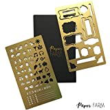 METAL BULLET JOURNAL STENCIL SET (2 Pack) w/ etched 6 inch ruler (Satin Gold) Planner Icons + Frame layout Stencil | Ideal for A5 notebook size like Leuchtturm1917