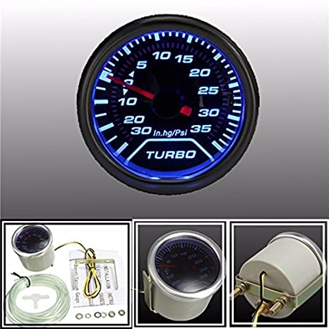 52 mm universal LED azul puntero medidor de Turbo Boost PSI: Amazon.es: Coche y moto