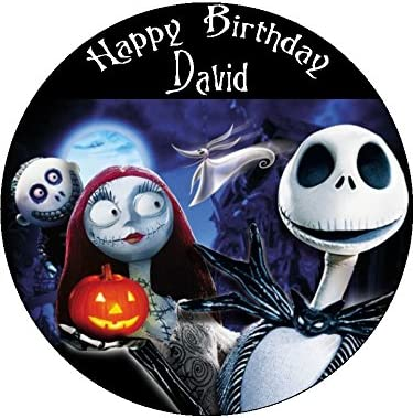 Admirable Nightmare Before Christmas 7 5 Round Personalised Birthday Cake Personalised Birthday Cards Paralily Jamesorg