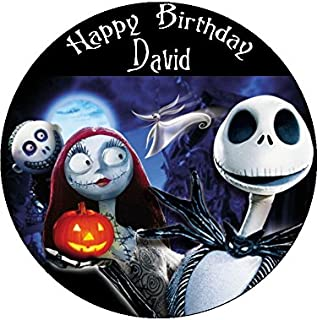 Nightmare before christmas 7.5\  Round personalised birthday cake topper printed on icing  sc 1 st  Amazon UK & The Nightmare Before Christmas Jack Skellington and Sally 7.5\