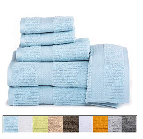 ELEGANCE SPA CASA LINO Quick Dry Towels 100% Cotton Zero Twist Towel Set 6-Piece, Soft Absorbent, spa Towels 2 Bath Towels, 2 Hand Towels, 2 Face Towels Set (Blue)