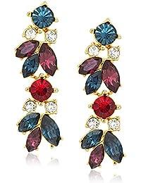 Maharaji Swarovski Crystal Cluster Linear Post Drop Earrings