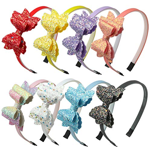 Glitter Bows Girls Hairbands Sequin Hair Bows Headband Party Gift Supplier Hair Accessoires Pack of 8 (Glitter Head Bows)