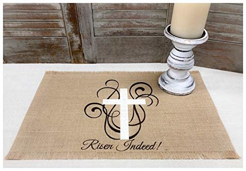 Easter Placemats with a Cross & scroll design