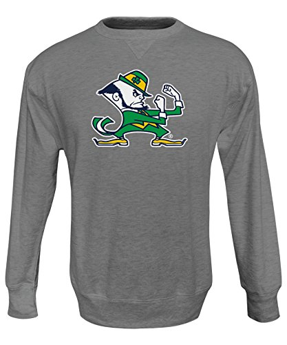 NCAA Notre Dame Fighting Irish Men's Crew 50/50 Fleece Top, Gray, (Notre Dame Fighting Irish Fleece)