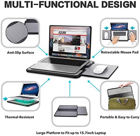 AboveTEK Portable Laptop Lap Desk w/Retractable Left/Right Mouse Pad Tray, Non-Slip Heat Shield Tablet Notebook Computer Stand Table w/Sturdy Stable Cooler Work Surface for Bed Sofa Couch or Travel 51ivTusO7KL