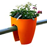 Greenbo Railing Planter (6 Pack), Medium, Orange