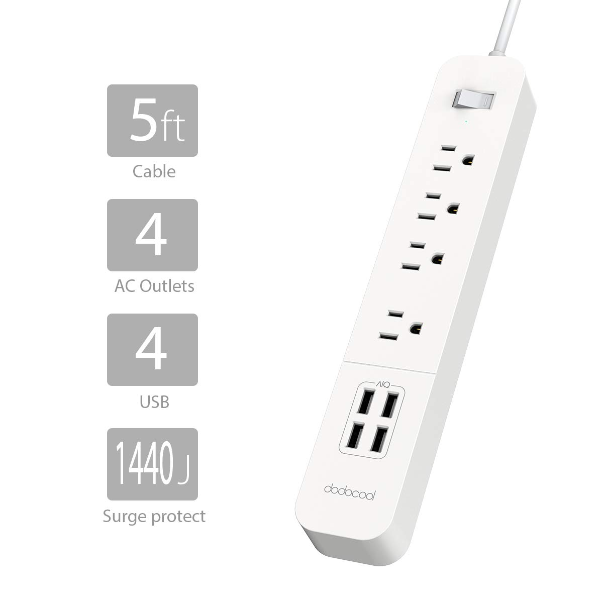 Power Strip with USB, dodocool Surge Protector Long Cord Multiple Outlet Adapter USB Charging Station with 4 Outlets and 20W 4 USB Charging Ports 4.92ft Cord for Smartphones/Tablets and More