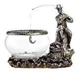 Classic Style Vintage Distressed Glass Fish Bowl - Country Fellow Fishing on a Tree Trunk