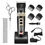 OMORC Dog Clippers, Smart 3-Speeds LCD Display Dog Grooming Clippers Low Noise Rechargeable