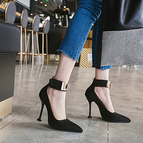 Tobillo Buckle Mujeres Heel Las Court Rhinestones Shoes De Satin ALBOC Wedding High Bombas Correa Evening Negro Heel Cerrada wPtq8X
