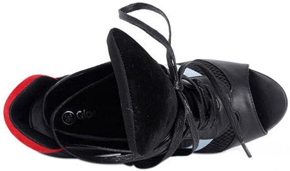 L@YC Women High Heels Stage Banquet Fish Mouth Mesh Quilt Sandals