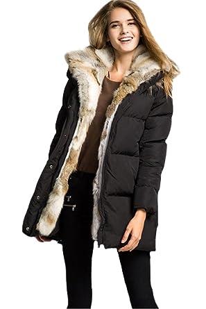 8b21e8f0d Amazon.com: Queenshiny New Style Women's Down Coat with Rabbit Fur ...