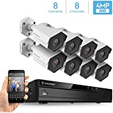 Amcrest 8CH Plug & Play H.265 4K NVR 4MP 1440P Security Camera System, (8) x 4-Megapixel 3.6mm Wide Angle Lens Weatherproof Metal Bullet POE IP Cameras, 98 Feet Night Vision (White)