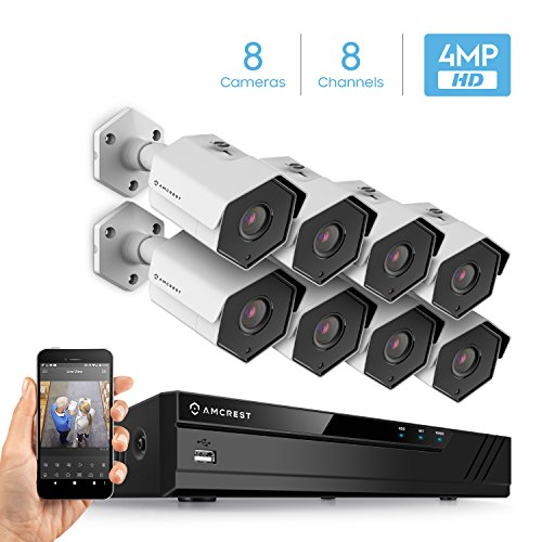 Amcrest 4MP Security Camera System, W 4K 8CH PoE NVR, 8 x 4-Megapixel 3.6mm Wide Angle Lens Weatherproof Metal Bullet POE IP Cameras, NV4108E-HS-IP4M-1026EW8 White