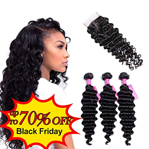 VRVOGUE Brazilian Deep Wave with Closure 100% Unprocessed Human Hair 7A+ Grade Brazilian Virgin Hair 4x4 Lace Closure Natural Color Hair Weave Human Hair Extensions (16 18 20+14 Free Part Closure)