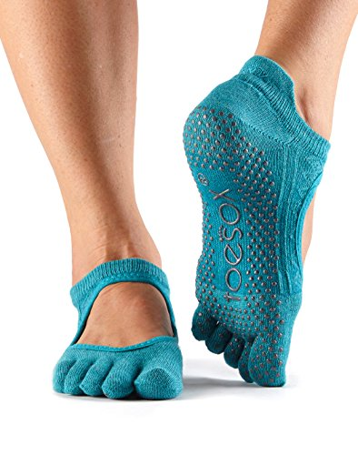 ToeSox Women's Bellarina Full Toe Grip Non-Slip for Ballet, Yoga, Pilates, Barre (Mermaid) Medium