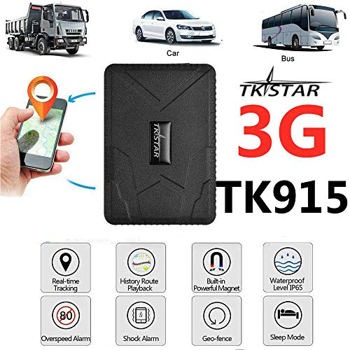 TKSTAR Hidden Vehicles 3G GPS Tracker, Waterproof Real Time Car GPS Locator Anti Theft Alarm Tracking Device Strong Magnet for Motorcycle Trucks Support Android and iOS 915 3G