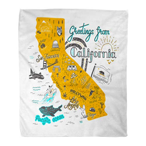 Golee Throw Blanket Flag of California Map Tourist Attractions Travel San Cartoon Francisco 50x60 Inches Warm Fuzzy Soft Blanket for Bed Sofa