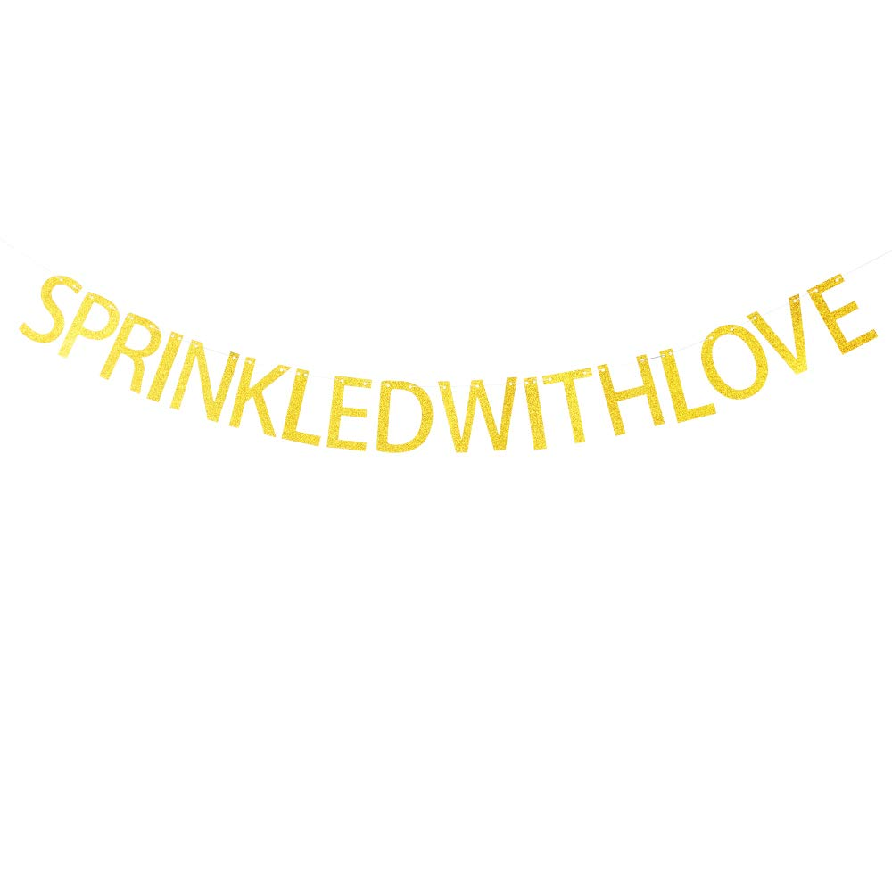 Sprinkled with Love Banner Hanging Decor for Wedding,Bachelorette,Bridal Shower,Fiesta Party Decorations Gold Banner Pertlife