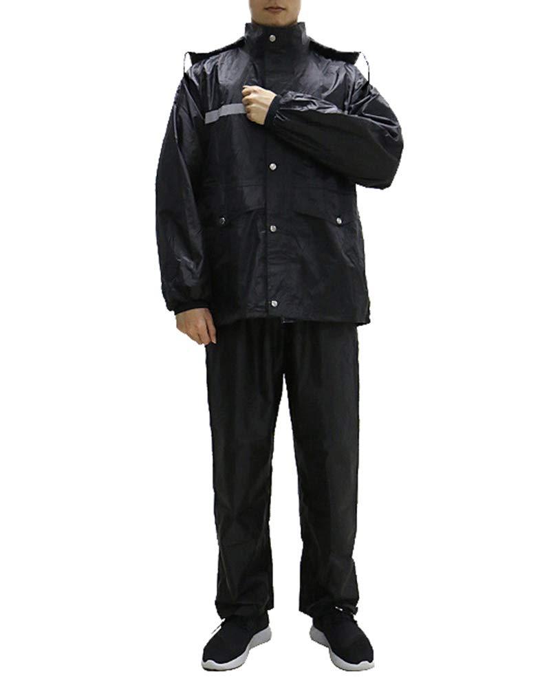 Minsong Uomo Set di Pantaloni Impermeabili da Pioggia Impermeabili A Doppio Strato Spesso 2XL Nero