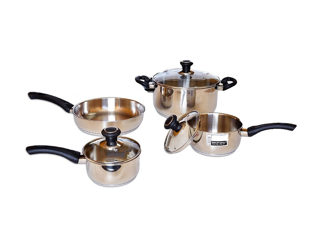 Home N Kitchenware Collection Premium 7pc Stainless Steel Pot Pan Cookware Set with glass lids, Dishwasher Safe
