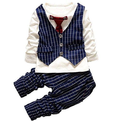 Baby Boy Formal Christening Wedding Tuxedo Waistcoat Bow Tie Suit Navy Blue (1 Waistcoat)