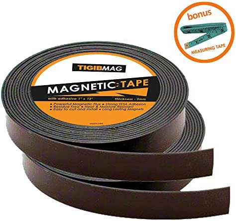 Flexible Magnetic Tape - 2 Pack 1 Inch x 12 Feet Strong Magnetic Strips for Whiteboard with Adhesive Backing - Heavy Duty Sticky Magnets Roll for Dry Erase Board, Classroom, Crafts and DIY Projects