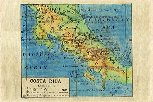 (Great River Arts Costa Rica 1906 Map Wall Art Print Vintage (11x17 Inches Gift)
