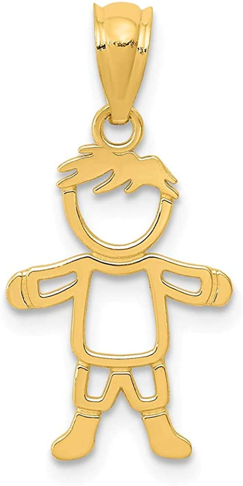 14k Yellow Gold Cut Out Boy Pendant Charm Necklace Kid Fine Jewelry For Women Gifts For Her