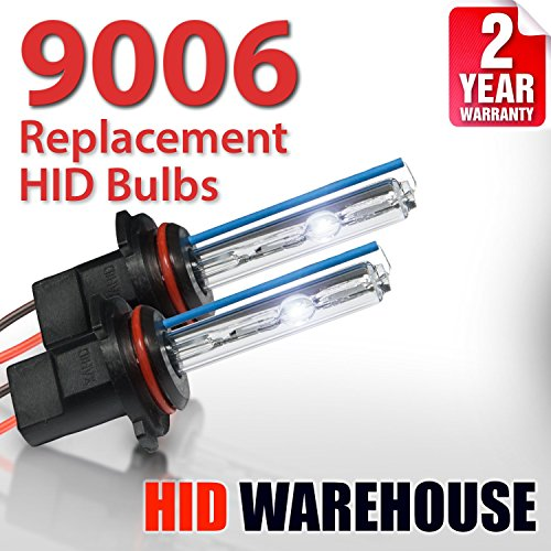 HID-Warehouse AC HID Xenon Replacement Bulbs - 9006 6000K - Light Blue (1 Pair) - 2 Year Warranty (55w Xenon Blue Bulbs)