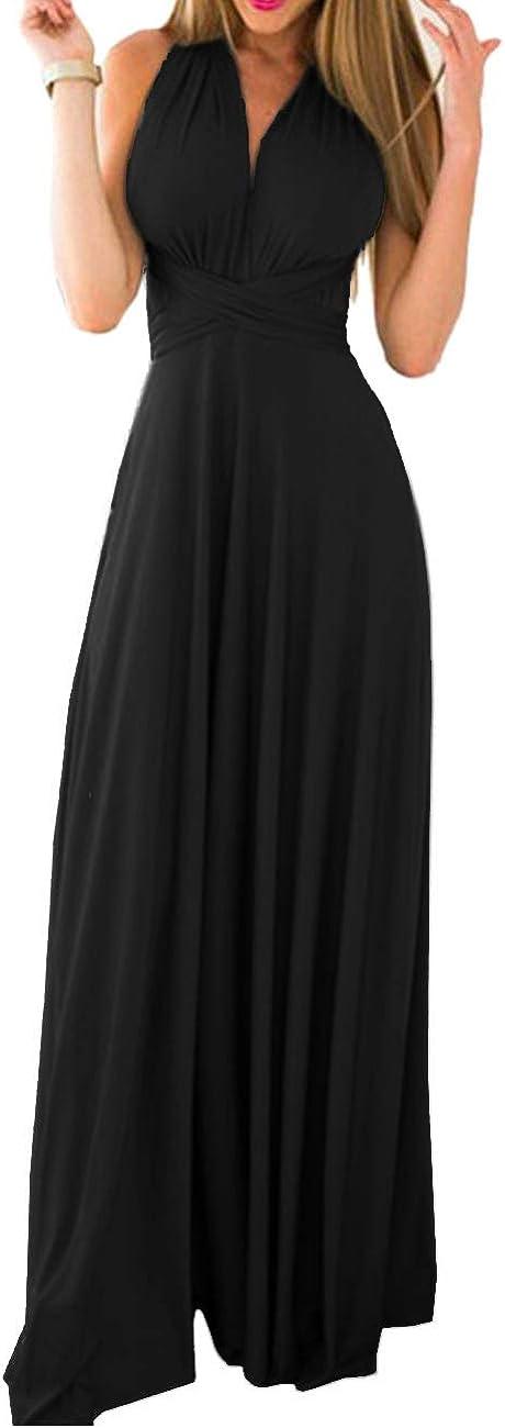 TALLA S. EMMA Mujeres Falda Larga de Cóctel Vestido de Noche Dama de Honor Elegante sin Respaldo Negro S