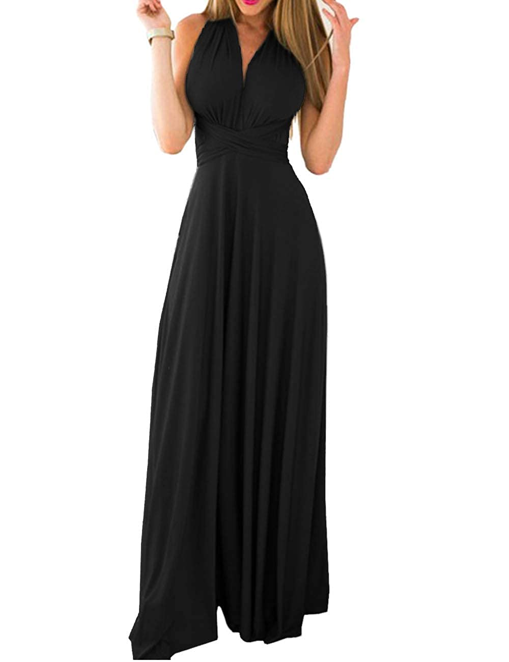 TALLA XL. EMMA Mujeres Falda Larga de Cóctel Vestido de Noche Dama de Honor Elegante sin Respaldo Negro XL