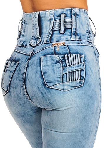 ModaXpressOnline Acid Wash High Waisted Butt Lifting 5 Button Skinny Jeans 10971L