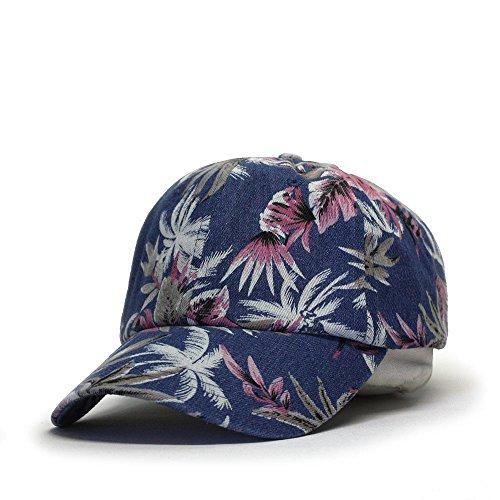 Premium Floral Hawaiian Cotton Twill Adjustable Snapback Baseball Caps (Denim Floral Navy)