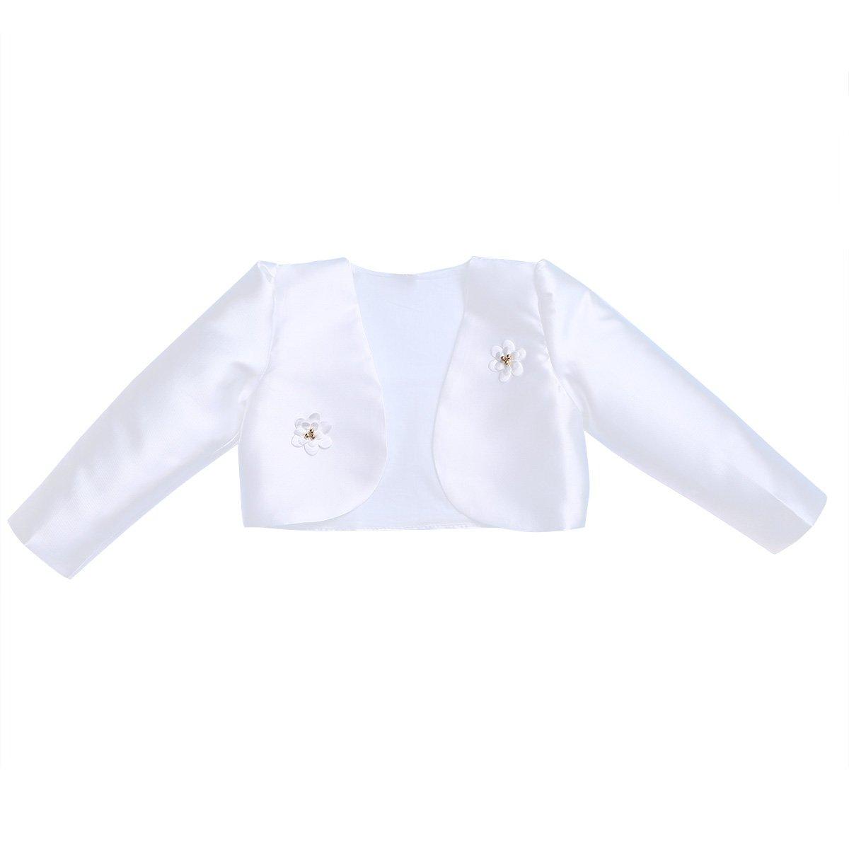 Freebily Kids Girls Long Sleeves Bolero Jacket Shrug Short Cardigan Sweater Dress Cover up (8-9, White)