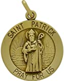 14 Karat Yellow Gold Saint Patrick Religious Medal Medallion with 16 Inch Chain