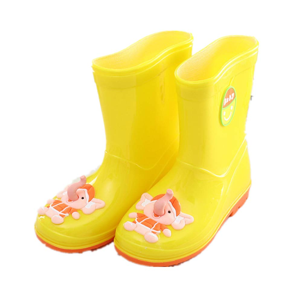 Super color Kids Girls /& Boys Rain Boots Natural Rubber Lightweight Waterproof with Fun Patterns Water Shoes
