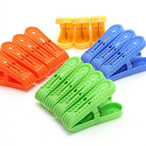 beccy.steve 14Pcs Colorful Plastic Clothes Laundry Pegs Beach Towel Clips