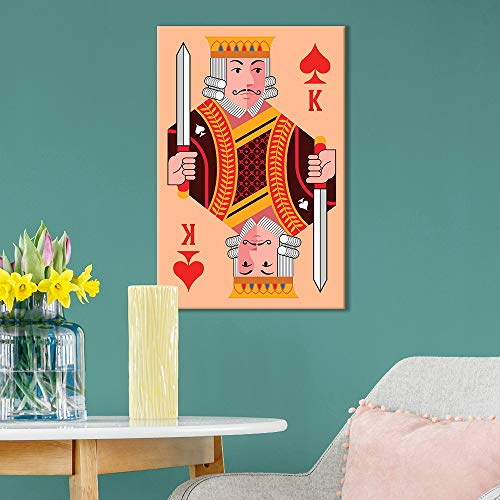 Playing Poker Card Design King of Spades with Coral Color Background
