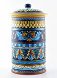 Hand Painted Italian Ceramic 13-inch Canister Geometrico 38E - Handmade in Deruta