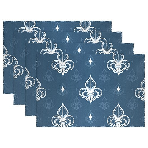 Naanle Heraldic Classic Regal Fleur De Lys Royal Blue Bright Elegant Printing Placemats Set of 1/4/6 Washable Table Mat for Kitchen Dining Table 12 X 18 Inches Place Mats