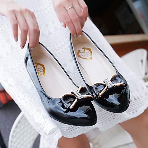 Medio Cuadrada Edad Moda Madre Individuales Primavera Mujer Cuero Boca Otoño Pescado Black Y Yukun Tacón Mediana Zapatos De Con Alto w4qYpZ6