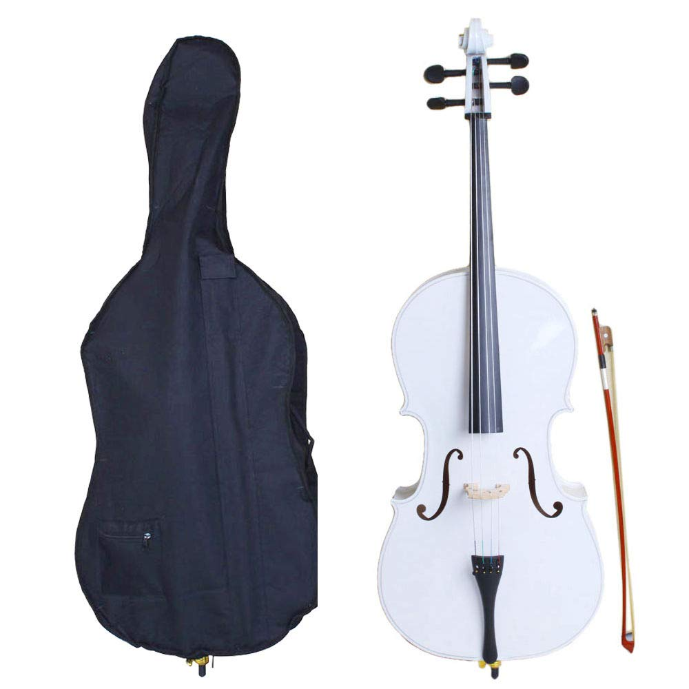 GHP White Basswood Aluminium Alloy Arbor & Maple 4/4 Cello w Bag Bow Rosin & Bridge by Globe House Products