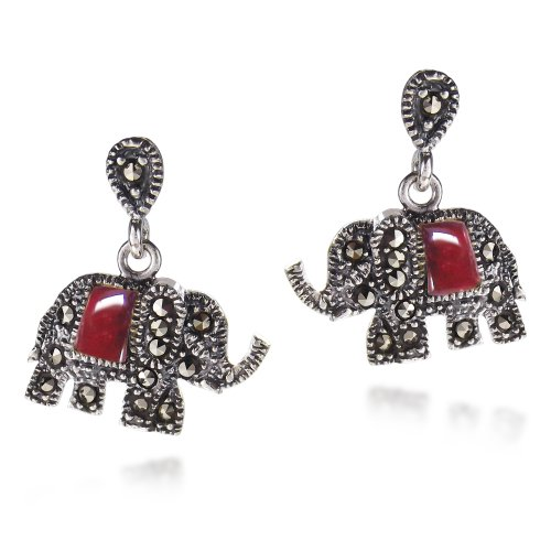 Royal Elephant Red Colored Glass and Marcasite Style Pyrite .925 Sterling Silver Stud Earrings