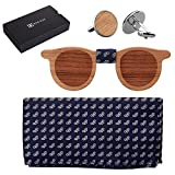 808 Ave. Men's Walnut Wood Bow Tie, Pocket Square, and Cufflinks Set - Spectacle