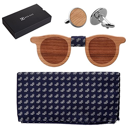 808 Ave. Wooden Bowtie Colors Wood Fabric for Animal Tie, Weddings, Prom, Christmas Parties & Galas, Adjustable Neck Band, Cool Conversation-Starter - Matching Pocket Square & Cufflink Set - - Spectacles Cool