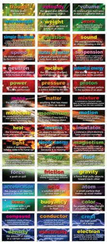Carson Dellosa Mark Twain 48 Physical Science Testing Words Bulletin Board Set (410078)