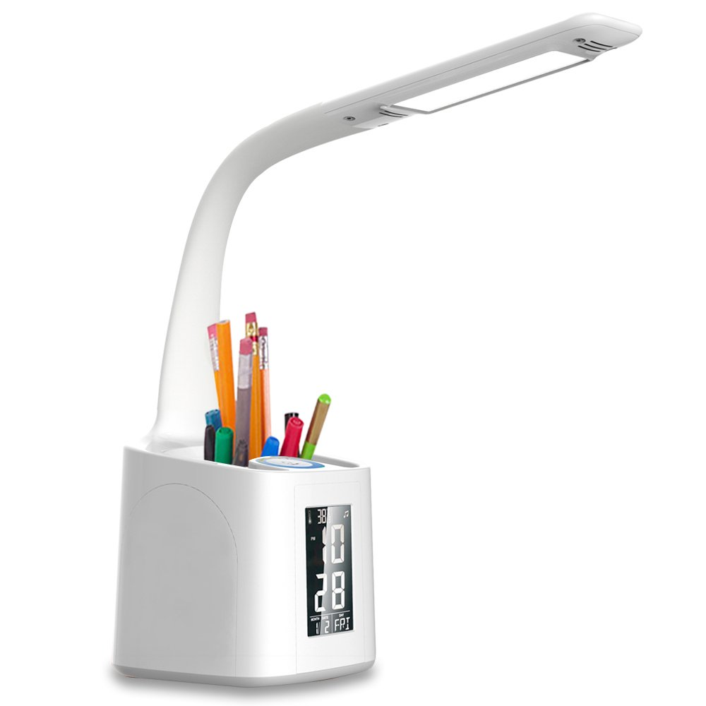 wanjiaone Gooseneck Led Desk Lamp with USB Charging Port Screen Calendar Temperature Girls Dimmable Led Table Lamp with Pen Holder Alarm Clock for Student Study Reading Light